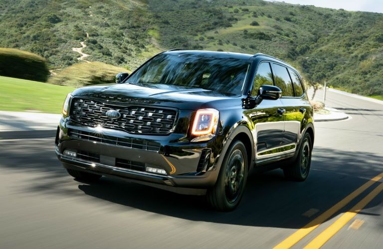 Front view of 2021 Kia Telluride Nightfall Edition driving