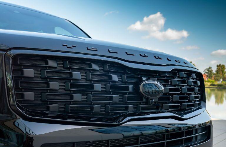 Closeup of grille on 2021 Kia Telluride Nightfall Edition