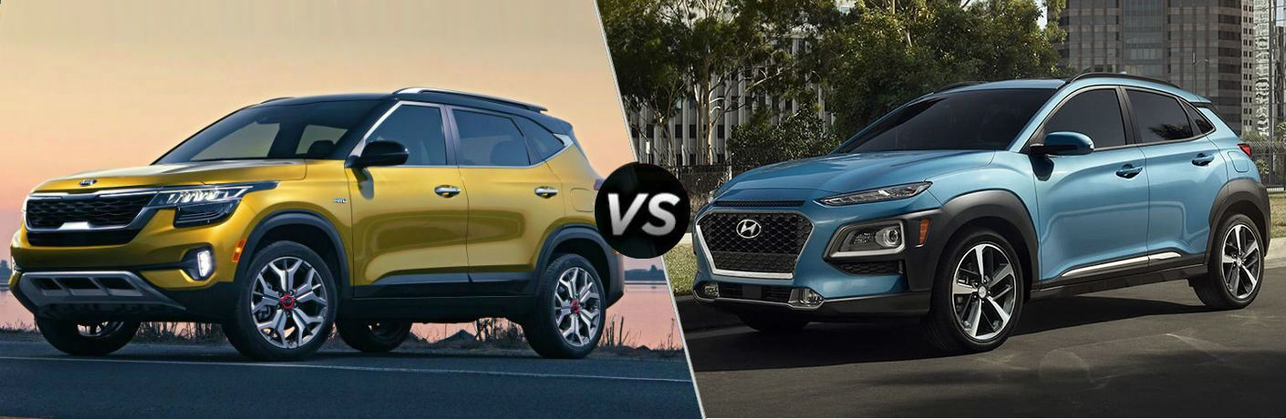 2021 Kia Seltos Vs. Hyundai Kona comparison with split screen
