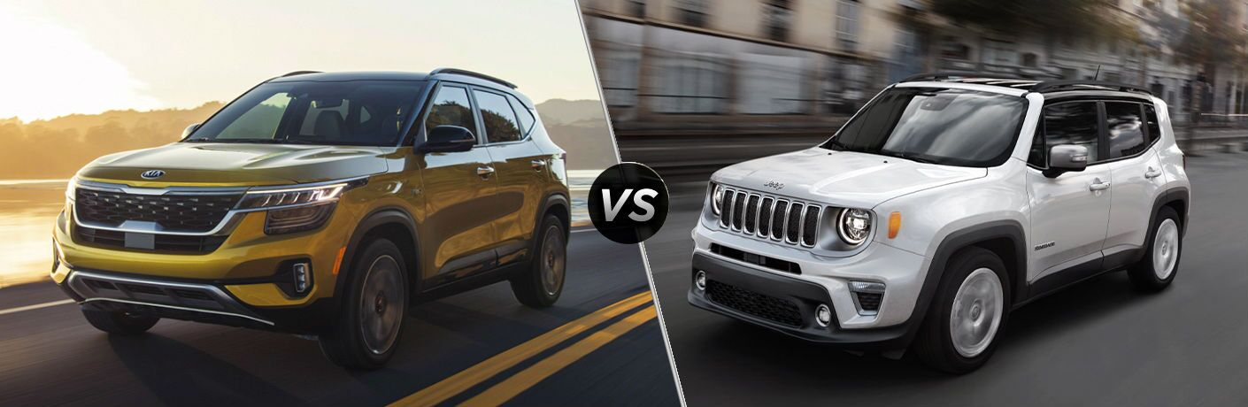 side by side comparison of 2021 Kia Seltos Vs. 2020 Jeep Renegade