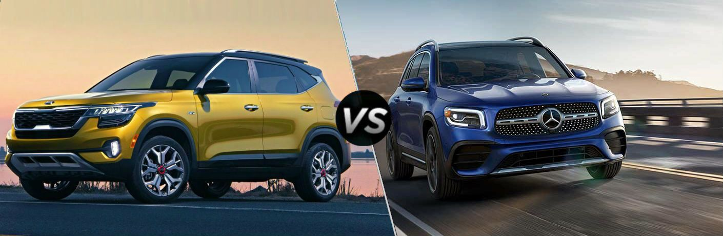 split screen comparison between 2021 Kia Seltos Vs. 2020 Mercedes-Benz GLB 250