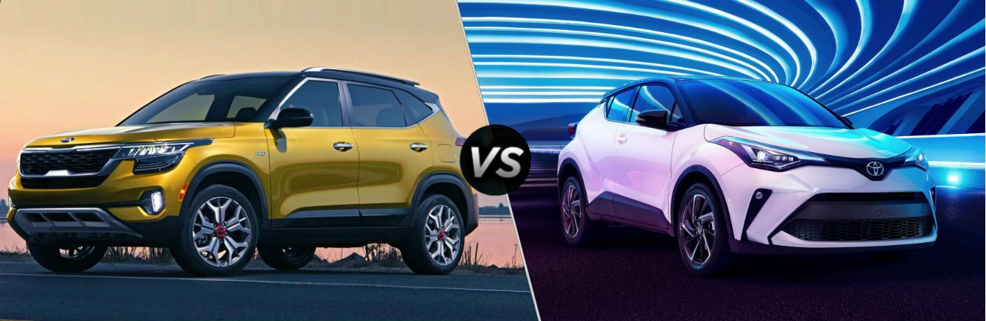 2021 Kia Seltos Vs. 2020 Toyota C-HR compared with side-by-side vs. image