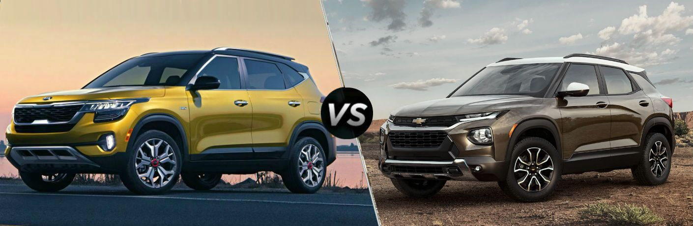 split image of 2021 Kia Seltos Vs. 2021 Chevrolet Trailblazer