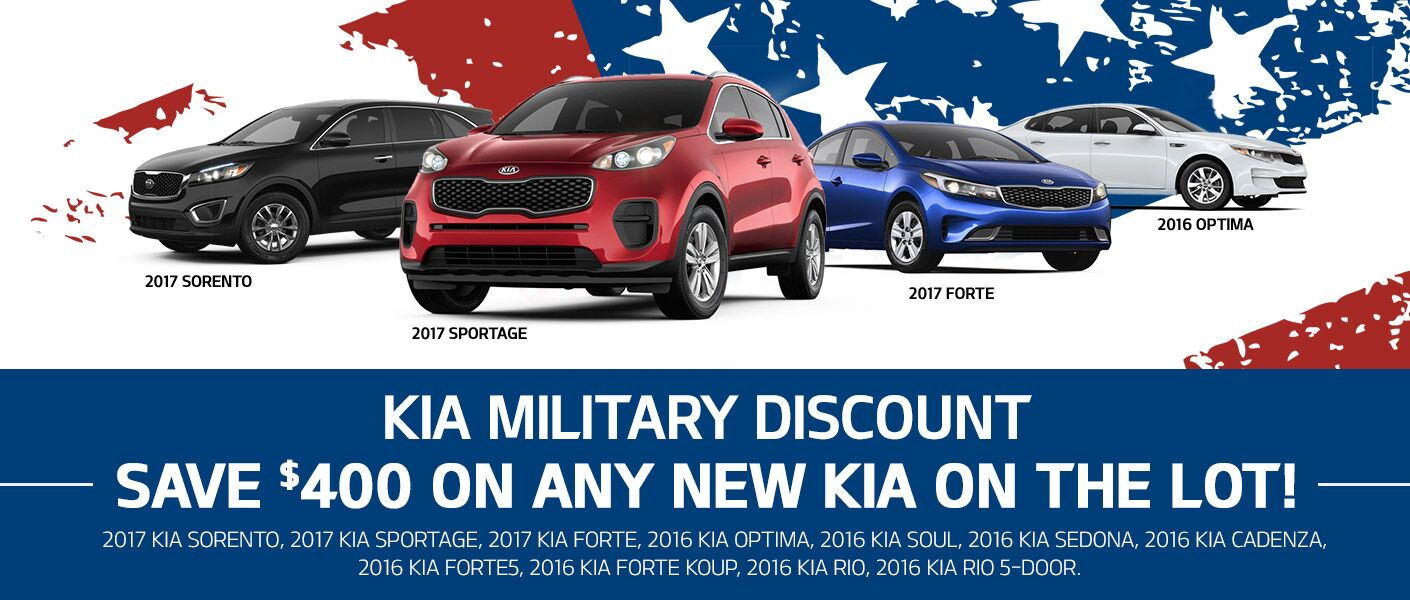 Kia military discount 2017 models Sorento Sportage Forte Optima Niro Friendly Kia