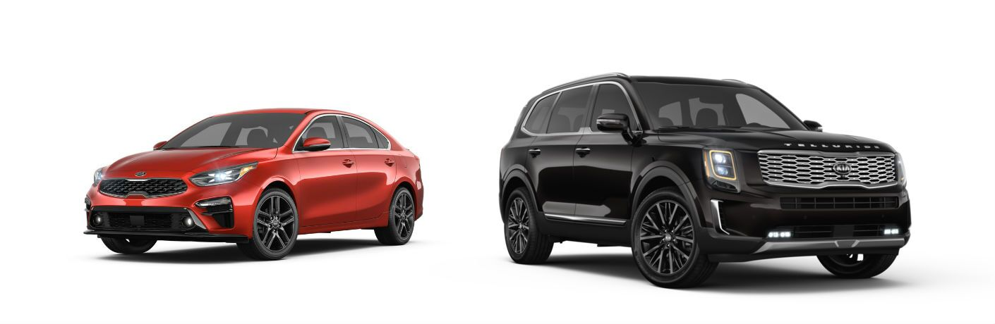 2019 Kia Forte and 2020 Kia Telluride on white background
