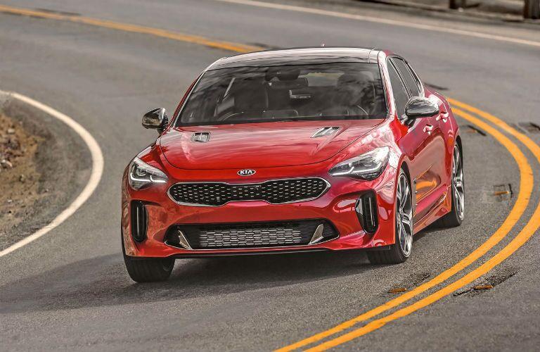 Red 2020 Kia Stinger driving