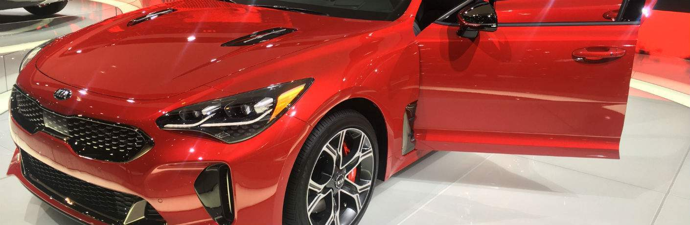 2018 Kia Stinger detail in red from chicago auto show 2018