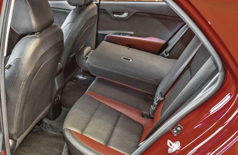 split rear seats folded down in kia rio