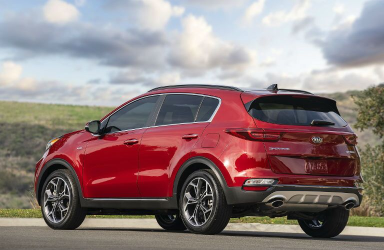 2020 kia sportage rear three quarter shot