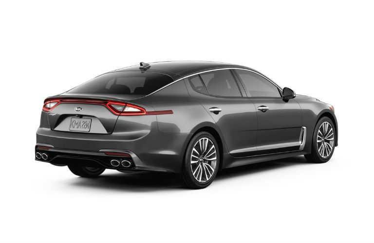 rear three-quarter shot of 2019 kia stinger base in gray