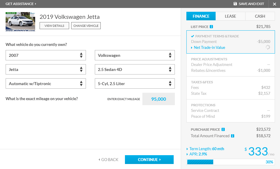 Create My Own Deal trade-in vehicle information