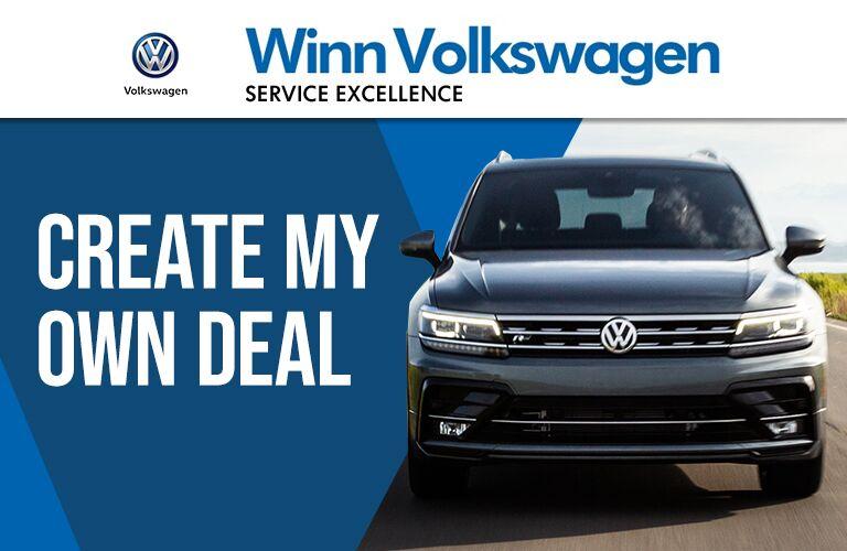 create my own deal tool at Winn Volkswagen with blue VW Tiguan