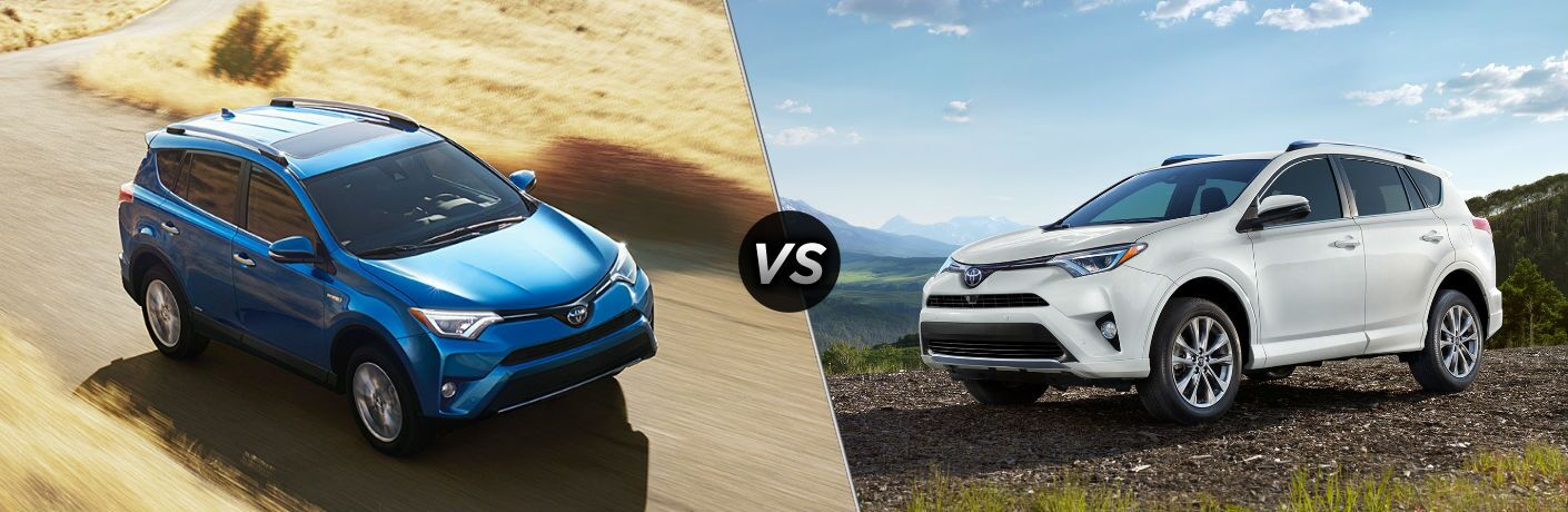 "Passenger side exterior view of a blue 2018 Toyota Rav4 SE on the left ""vs"" driver side exterior view of a white 2018 Toyota Rav4 Limited on the right"