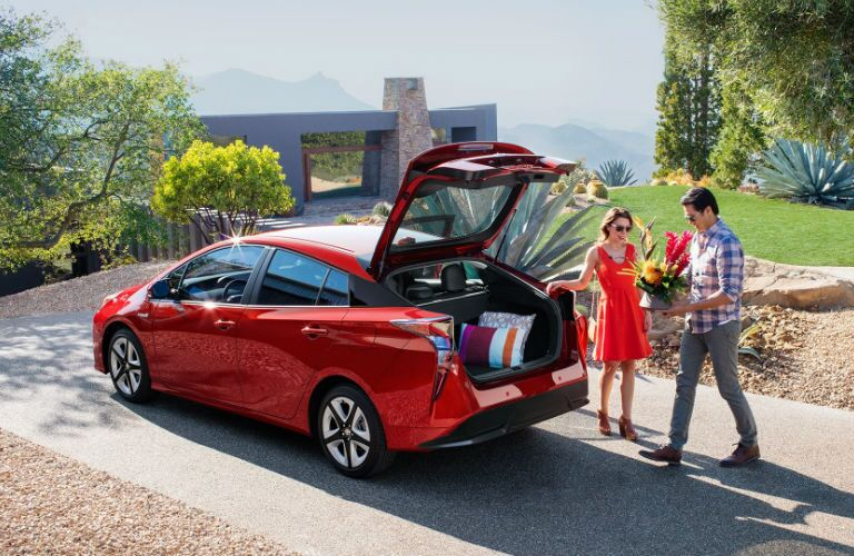 2018 Toyota Prius with a couple loading cargo
