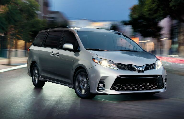 2019 Toyota Sienna SE Premium in Celestial Silver Metallic parked in the middle of a road