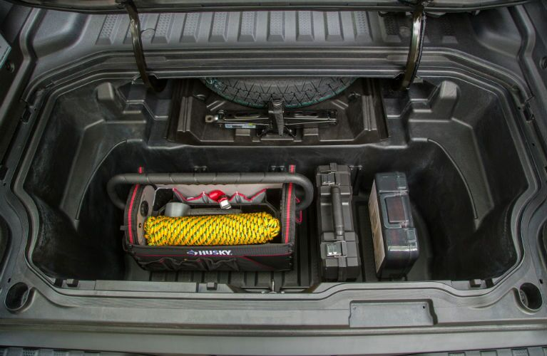 2019 Honda Ridgeline In-Bed Trunk with items loaded in it