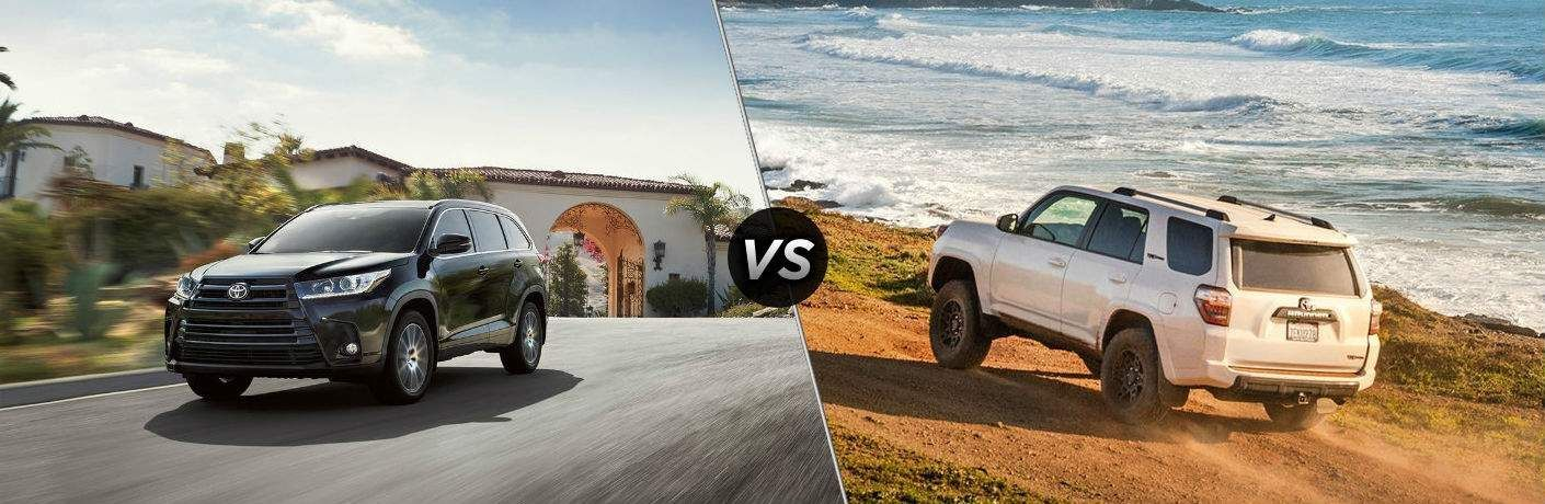 Black 2019 Toyota Highlander set against a white 2019 Toyota 4Runner
