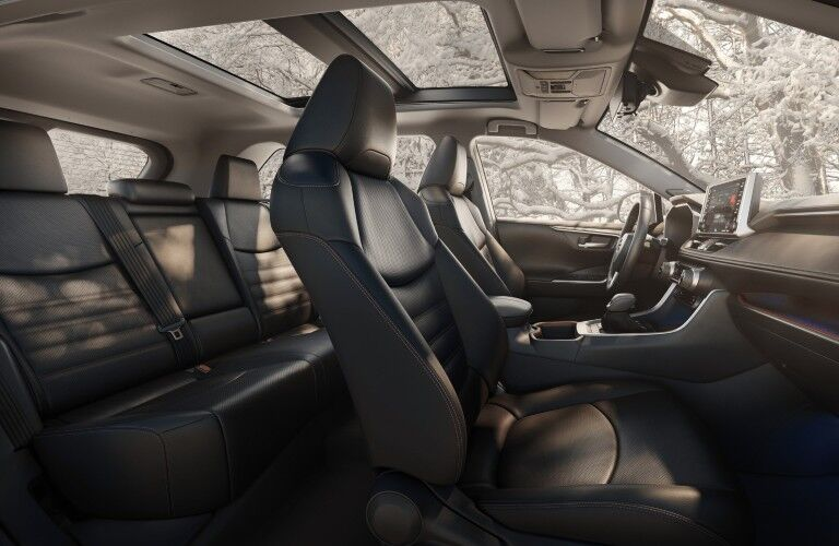 2020 toyota rav4 interior passenger side view of front and rear seats