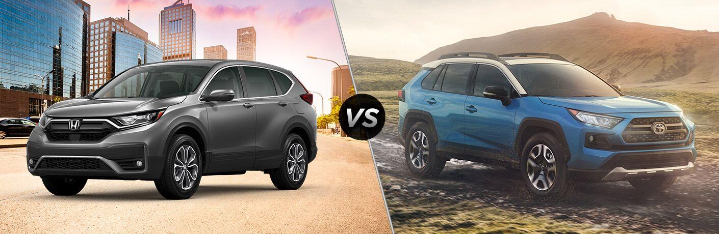 2020 Honda CR-V Exterior Driver Side Front Profile vs 2020 Toyota RAV Exterior Passenger Side Front Profile
