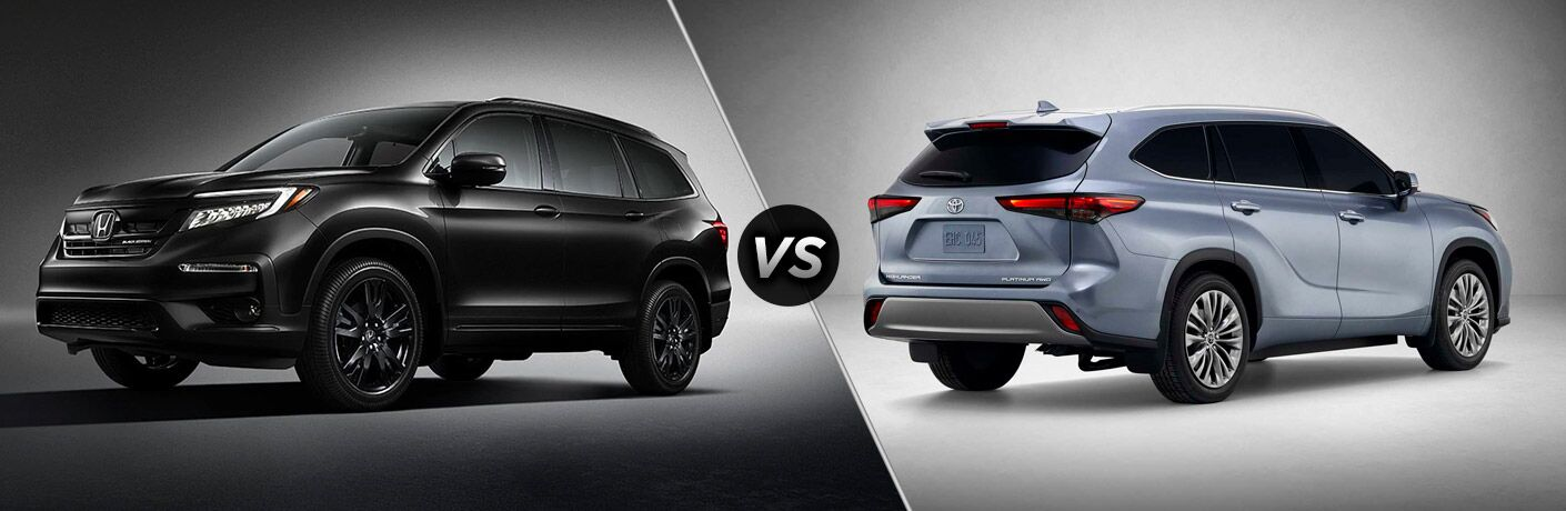 2020 Honda Pilot Exterior Driver Side Front Profile vs 2020 Toyota Highlander Exterior Passenger Side Rear Profile