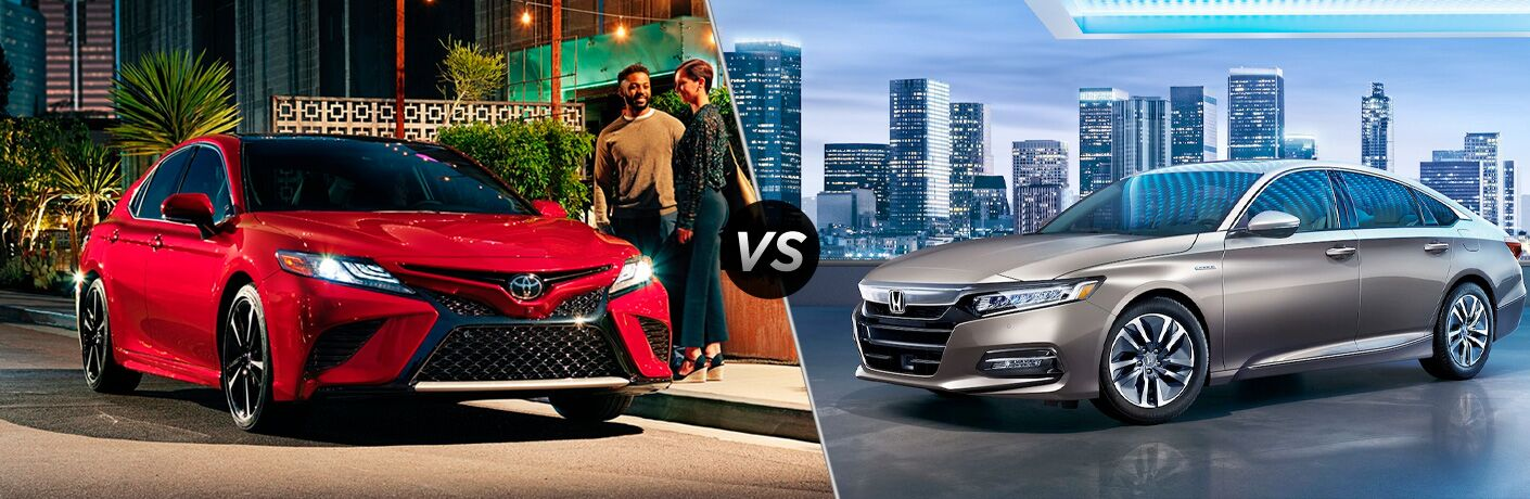 2020 Toyota Camry Exterior Passenger Side Front Angle vs 2020 Honda Accord Exterior Driver Side Front Profile