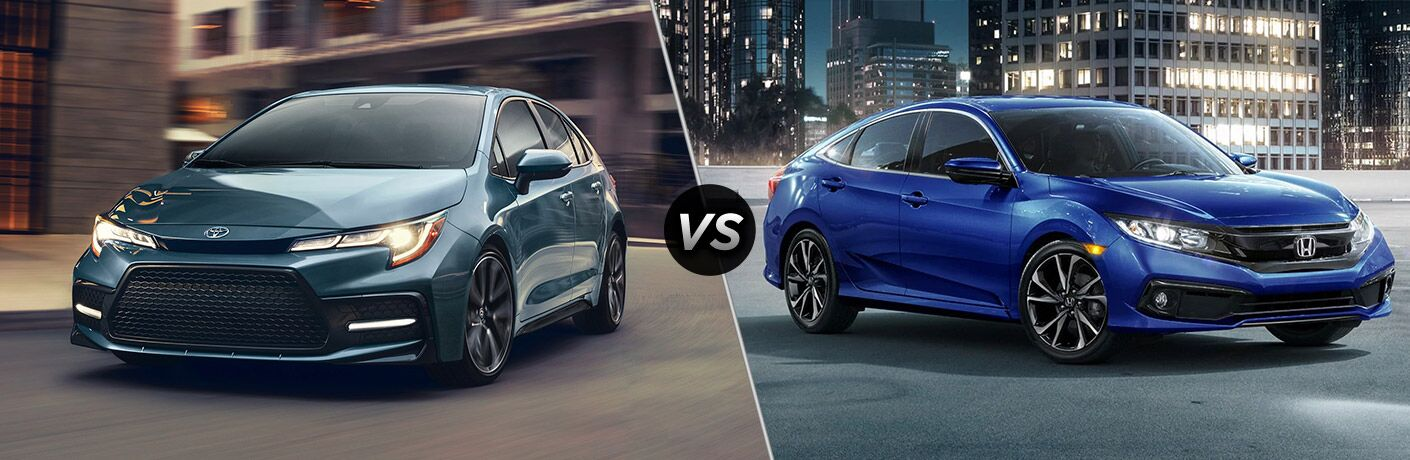 2020 Toyota Corolla Exterior Driver Side Front Angle vs 2020 Honda Civic Exterior Passenger Side Front Profile