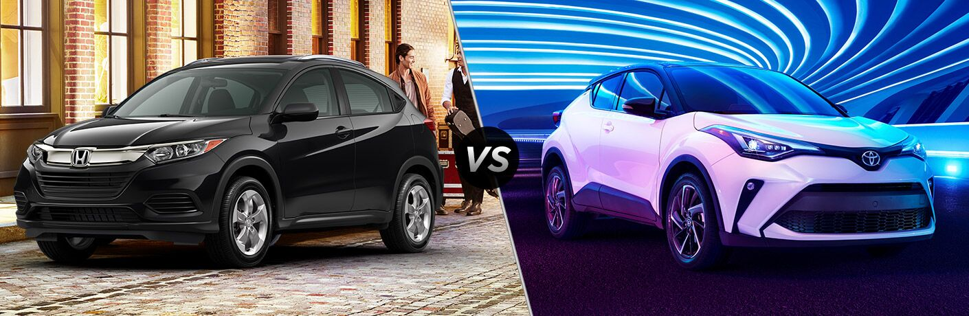 2021 Honda HR-V Exterior Driver Side Front Angle vs 2021 Toyota C-HR Exterior Passenger Side Front Angle