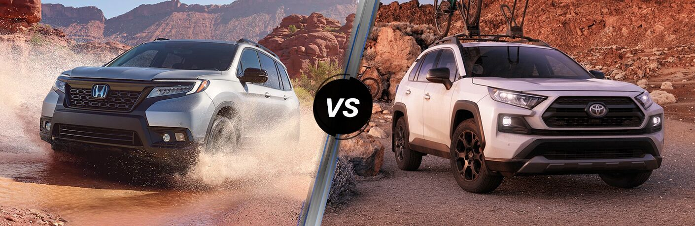 2021 Honda Passport Exterior Driver Side Front Angle vs 2021 Toyota 4Runner Exterior Passenger Side Front Angle