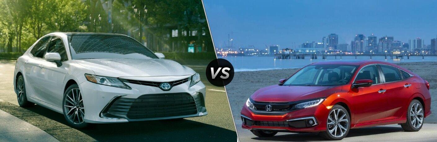 2021 Toyota Camry next to 2021 Honda Civic