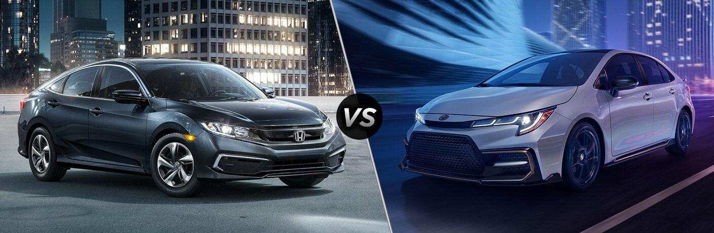 2021 Honda Civic Exterior Passenger Side Front Profile vs 2021 Toyota Corolla Exterior Driver Side Front Profile