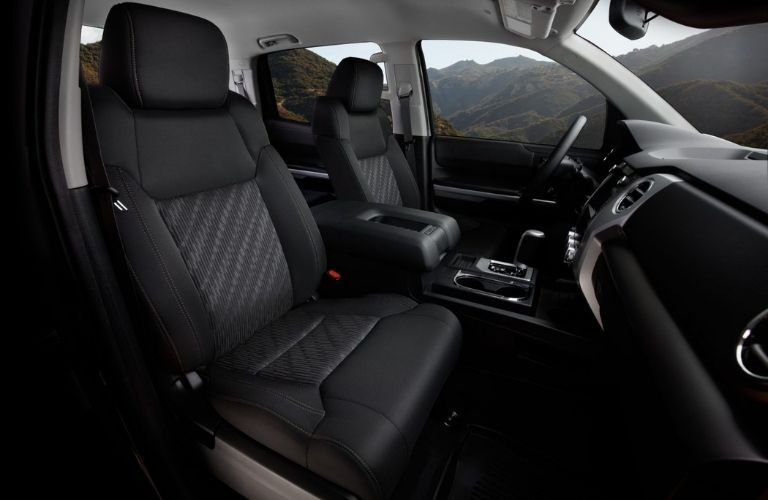 2021 Toyota Tundra View of Front Row Seats, Dashboard, Steering Wheel, and Center Console from the right-side