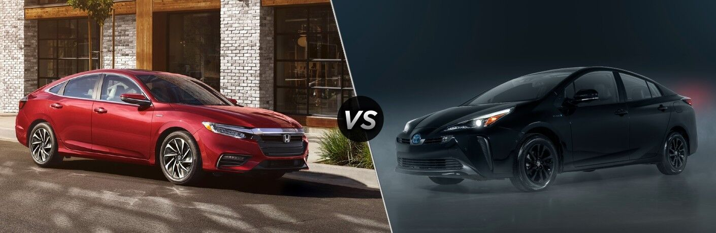 2022 Honda Insight Exterior Passenger Side Front Profile vs 2022 Toyota Prius Exterior Driver Side Front Profile