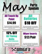 May Parts Specials
