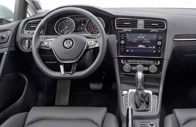 2018 Volkswagen Golf front steering wheel and dash.