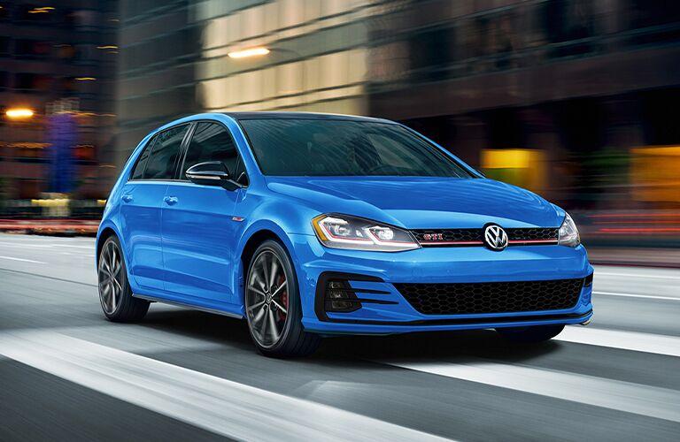 2021 Volkswagen Golf GTI blue front view