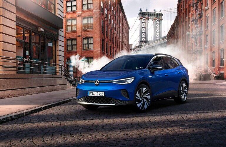2021 Volkswagen ID.4 blue parked on steamy street