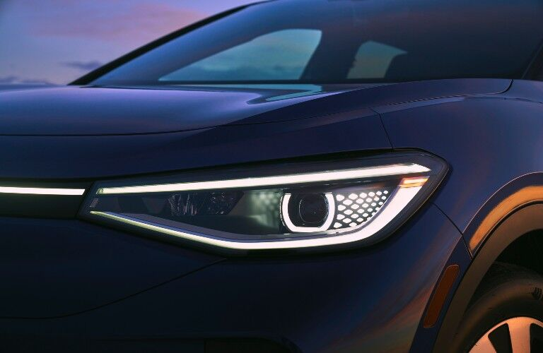 2021 Volkswagen ID.4 exterior close up on LED headlights