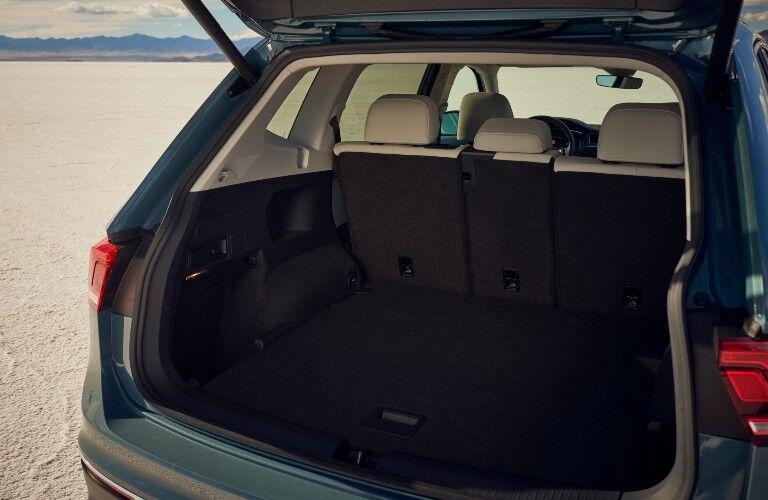 2021 Volkswagen Tiguan rear interior seen through open trunk door