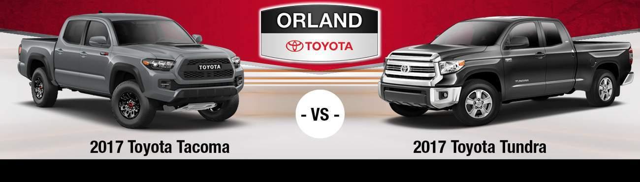 2017 Toyota Tacoma vs. 2017 Toyota Tundra banner