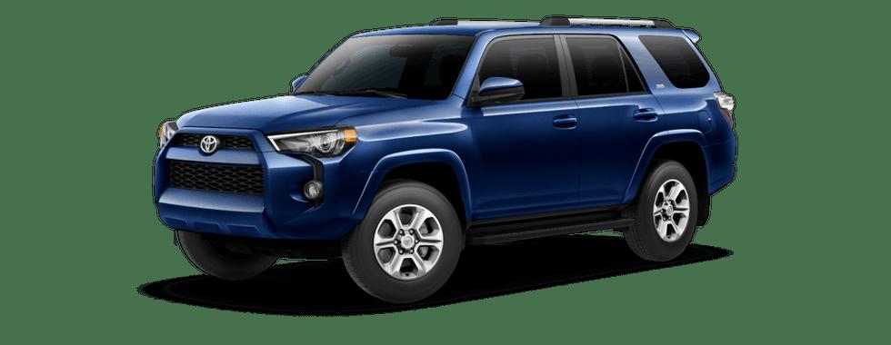 Blue 2019 Toyota 4Runner on transparent background facing forward