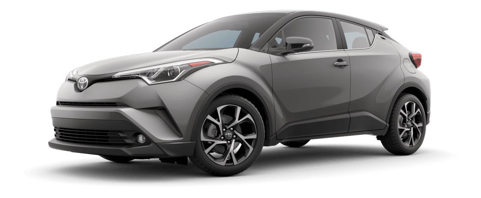 2019 Toyota C-HR silver front facing on transparent background