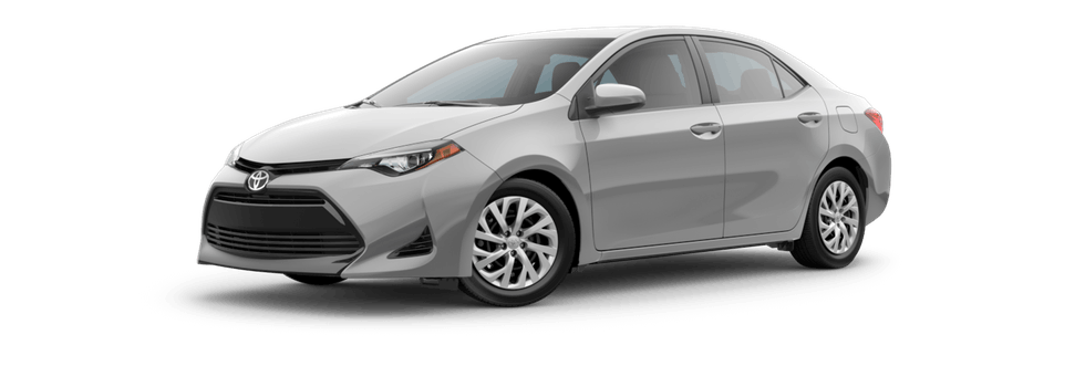 Silver 2019 Toyota Corolla front facing with white background