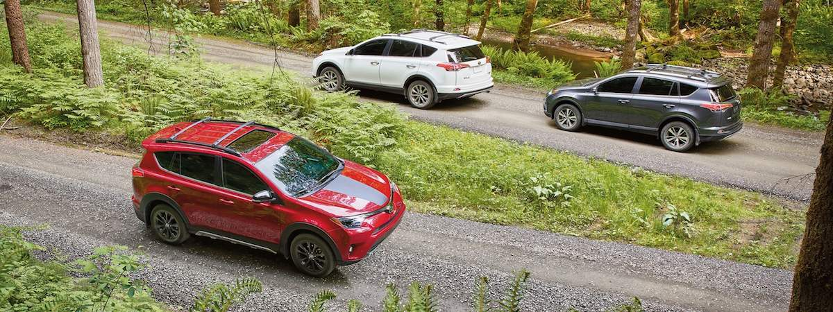 Three RAV4s driving through the country road