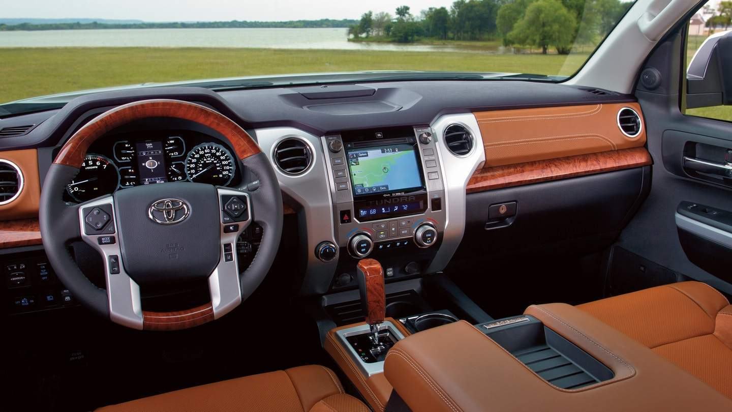 The interior dashboard of the 2018 Toyota Tundra