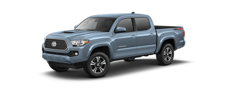 Blue 2019 Toyota Tacoma on a transparent background