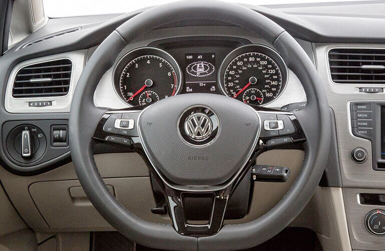 2018 Volkswagen Golf SportWagen interior close up of steering wheel and driver's display