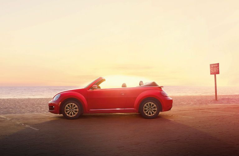Beetle Convertible against the sunset