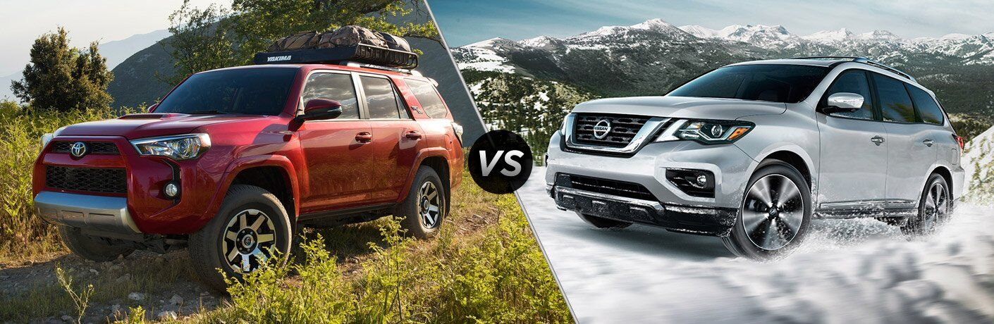 red 2017 Toyota 4Runner and silver 2017 Nissan Pathfinder exteriors