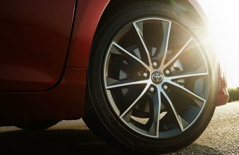 red 2017 Toyota Camry wheel closeup