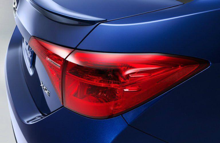 closeup of blue 2017 Toyota Corolla taillight